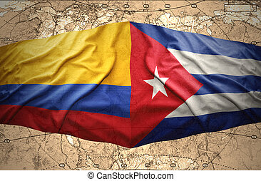 Colombia and Cuba - Waving Colombian and Cuban flags on the...