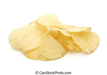 Pile of potato chips in isolated white background