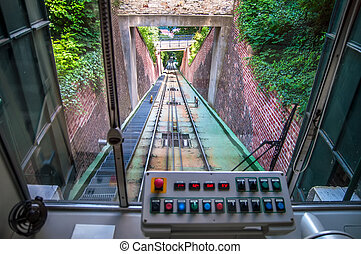 In cabin of funicular - Control board inside of moving...