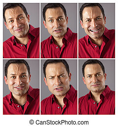 Six Different Male Expression - An image of six different...