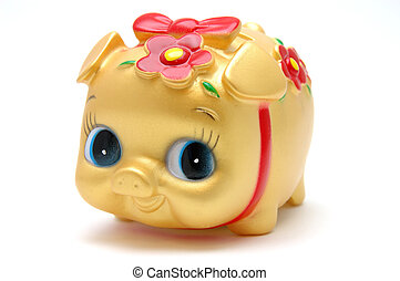 Ms piggy bank in golden color, isolated white
