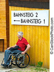 Waiting in a Wheelchair - Retired person in a wheelchair...