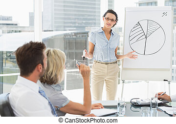 Business people in office at presentation - Businesswoman...