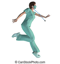 3d Nurse - Digitally rendered illustration of a woman in...