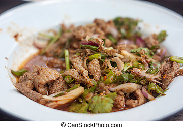 Larb, pork mince with spicy taste, Thai food