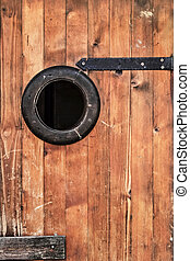 Old Hut Wooden Door - Detail - Photograph of old, weathered,...