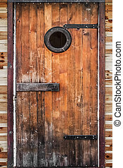 Old Hut Wooden Door - Photograph of old, weathered, rustic,...