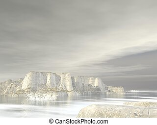 Icebergs - 3D render - Icebergs in grey cloudy background at...