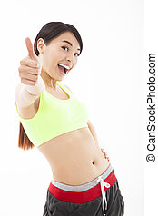young woman doing her workout with thumb up