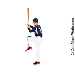 Baseball player with bat and ready to hit