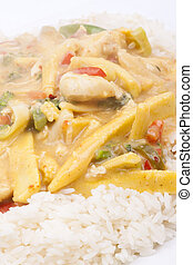 coconut chicken with rice - diced chicken in coconut curry...