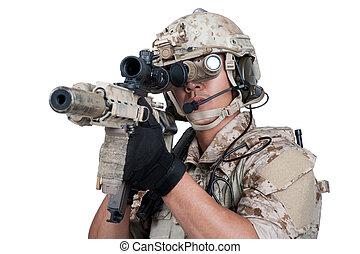 soldier man holding Machine gun shoot - soldier holding...