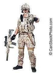 retoño, arma de fuego, máquina, soldado, tenencia, hombre