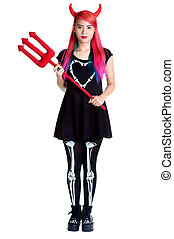 devil young girl holding trident iaolated