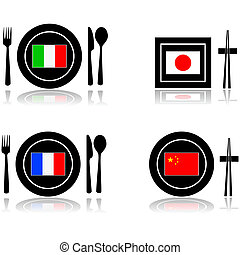 International cuisine - Icons for international food and...
