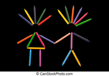 Crayons in Love on Black - Multicolor crayons sorted in...