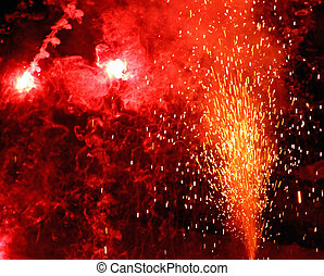 huge explosion with fire in the night with sparks, light, fire, blaze