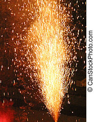 huge explosion with fire in the night with smoke, sparks, fire, blaze