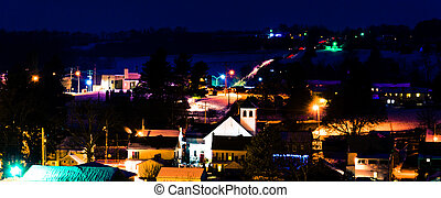View of the small town of Jefferson, Pennsylvania at night....