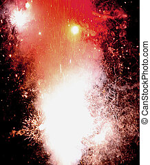 explosion with fire in the night with smoke, light, fire, blaze