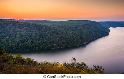 View of the Susquehanna River at sunset, from the Pinnacle...
