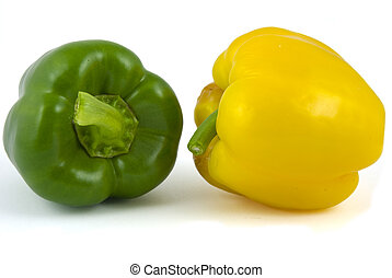 Two bell peppers - Yellow and green bell peppers isolated on...