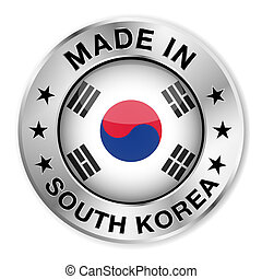 Made In South Korea Badge - Made in South Korea silver badge...