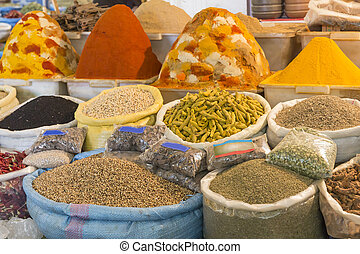 Spices for sale on a market in Morocco, Africa