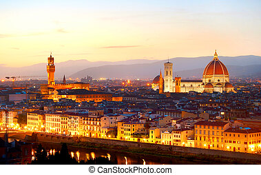 Florence at dusk - Skyline of Florence at colorful dusk,...