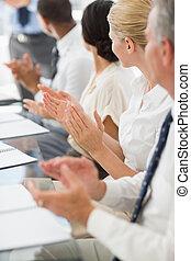negócio, pessoas, clapping, colega, reunião