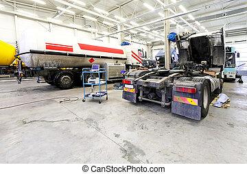 Truck garage - Interior shot of big truck service garage