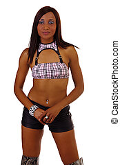 Young African American Woman Black Shorts Boots