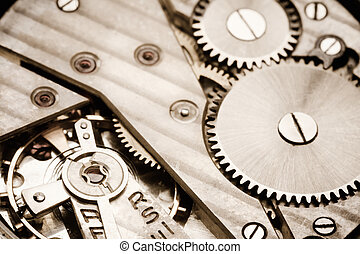 Clockwork Background. Close-up Of Old Clock Watch Mechanism...