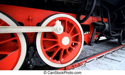 An old locomotive - An old steam locomotive in a garage in...