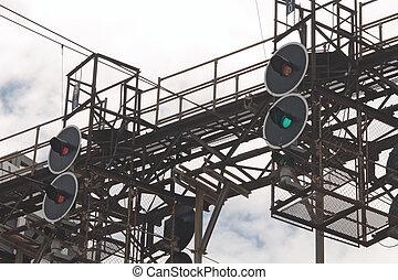 Railway traffic lights - Black metal railway traffic lights...