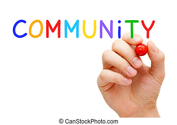 Community Concept - Hand writing Community with marker on...