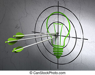 Success business concept: arrows hitting the center of Green Light Bulb target on wall background, 3d render