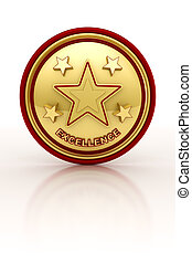 Five star excellence seal - Golden seal with five stars for...