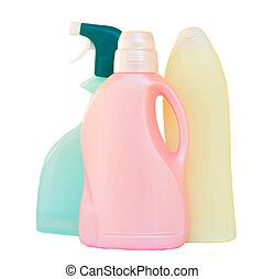 Plastic detergent bottles on white background