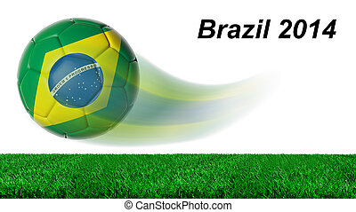 Soccer ball with Brazil flag in motion with grass isolated