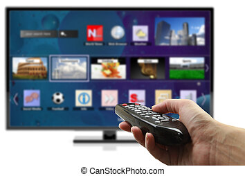3D smart tv with hand holding remote control isolated