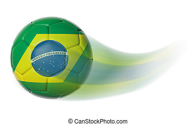 Soccer ball with Brazil flag in motion isolated