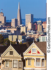 San Francisco Victorian houses in Alamo Square California -...