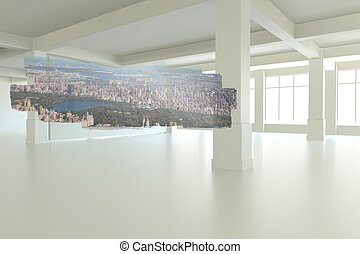 Abstract screen in room showing cityscape