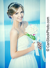 special occasion - Portrait of a beautiful bride, sweet and...