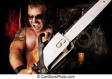 rage emotion - Expressive handsome muscular man with a...