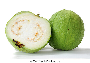 green guava - half and full of green guava delicious...