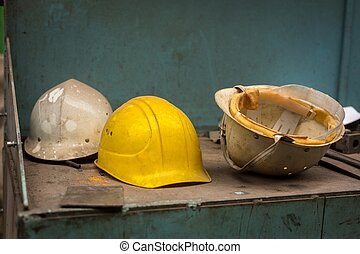 Dirty construction helmets