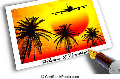 Welcome to Paradise - Photograph of plane landing in...