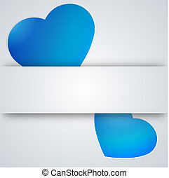 Paper hearts cut from paper. Vector illustration.